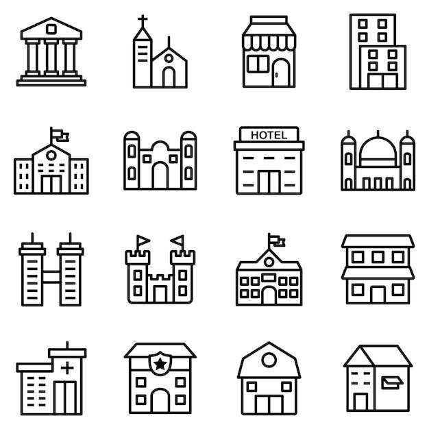 Пакет значков здания, со стилем значка наброски Premium векторы