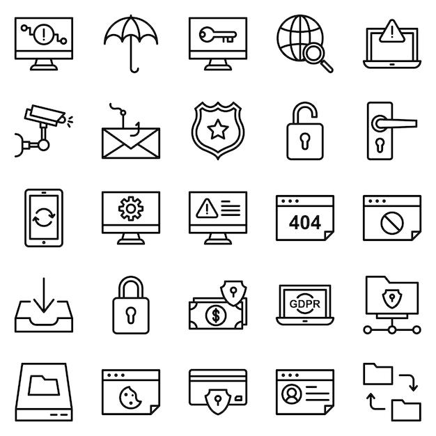 Набор значков защиты безопасности, со стилем значка наброски Premium векторы