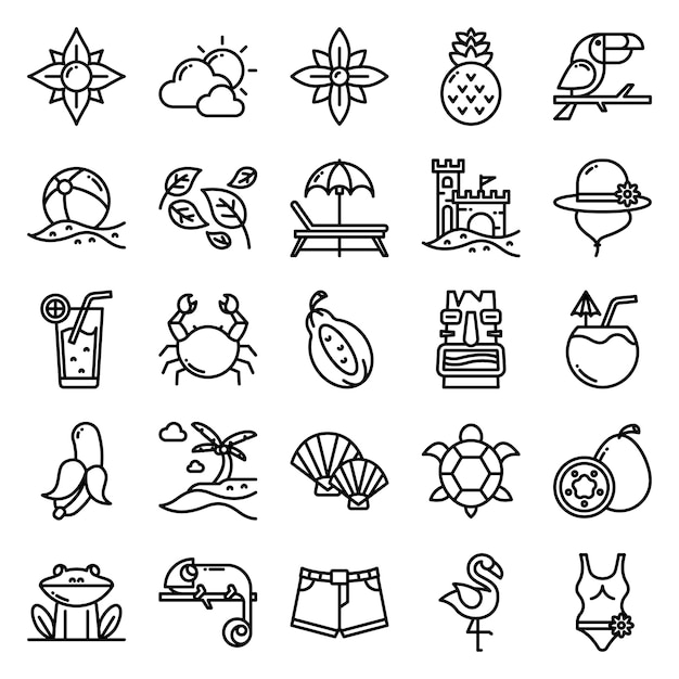 Тропический набор значков с контурным стилем значка Premium векторы