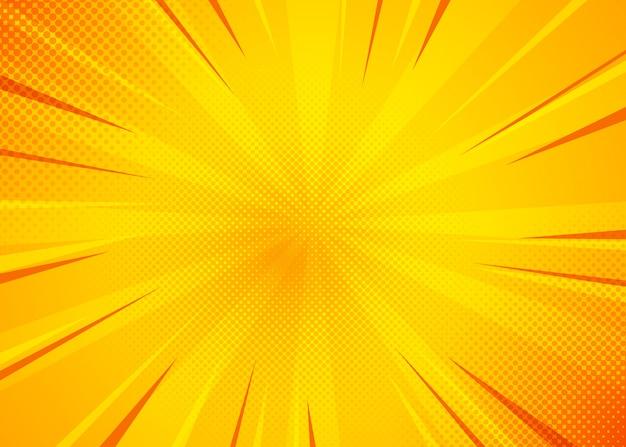 Желтый комический фон. поп-арт комиксов фон с желтым цветом Premium векторы