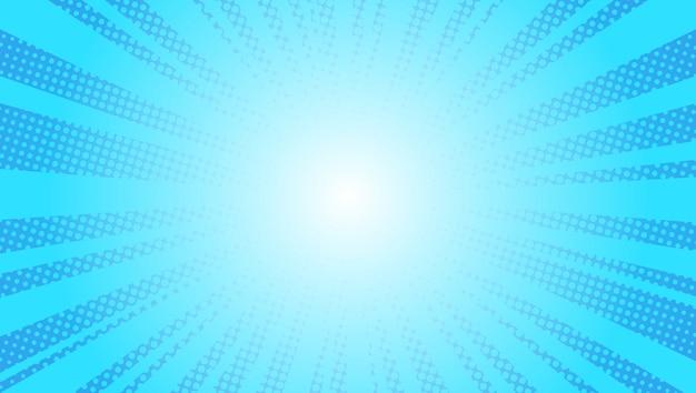 コミック青い太陽光線背景ポップアートレトロなベクトルイラストキッチュデッサン Premiumベクター