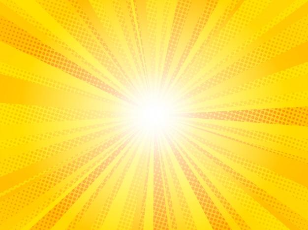 Комический желтый солнечный лучи фон поп-арт Premium векторы