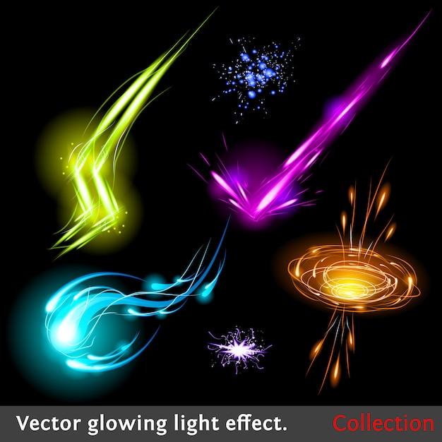 ベクトル輝く光の効果セット Premiumベクター