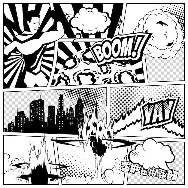 さまざまなスピーチの泡、光線、星、ドット、ハーフトーンの漫画本ページのカラフルなテンプレート。スーパーヒーローと都市のシルエット Premiumベクター