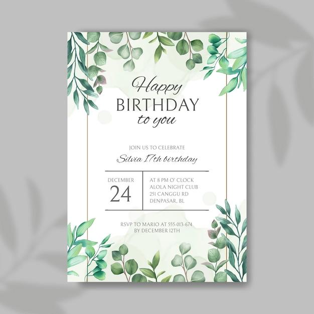 С днем рождения приглашение с рамкой из листьев Premium векторы