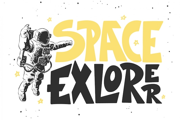 レタリングと宇宙飛行士の手描きのスケッチ Premiumベクター