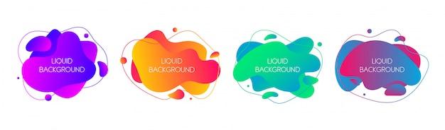 Набор абстрактных современных графических жидких элементов Premium векторы