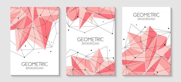 多角形の抽象的な未来的なピンクのテンプレート Premiumベクター
