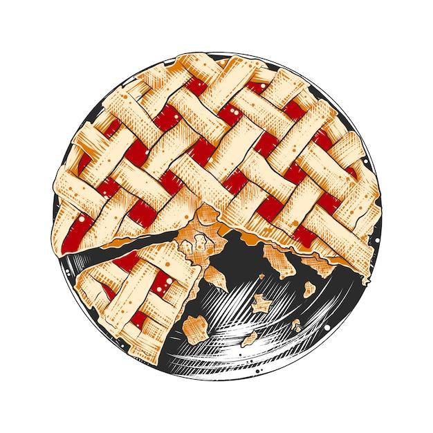 カラフルなアメリカのパイの手描きのスケッチ Premiumベクター