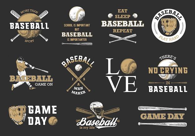 Набор бейсбольных логотипов Premium векторы