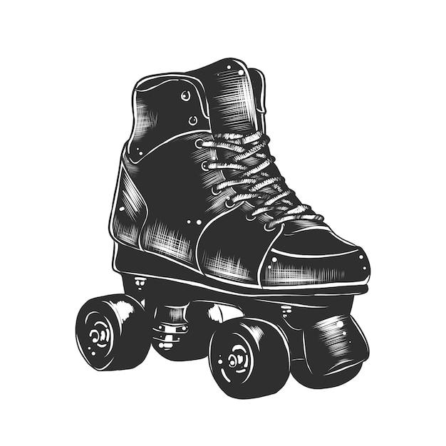 レトロなローラースケートの手描きのスケッチ Premiumベクター