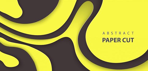 Фон с черным и желтым цветом бумаги вырезать Premium векторы