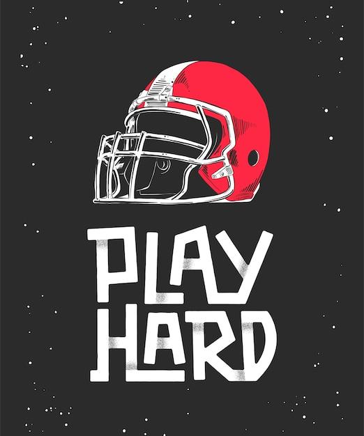 赤いアメリカンフットボールのヘルメット、レタリングのスケッチ Premiumベクター