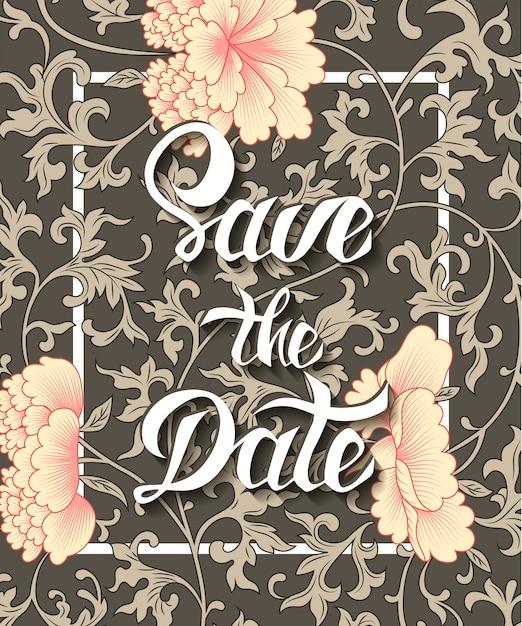 花の背景に日付招待カードを保存 Premiumベクター