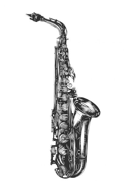 Ручной обращается эскиз саксофона в монохромном режиме Premium векторы