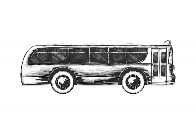 Ручной обращается эскиз туристического автобуса в монохромном режиме Premium векторы