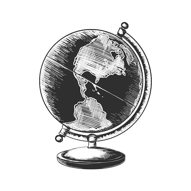 Ручной обращается очерк земного шара в монохромном режиме Premium векторы