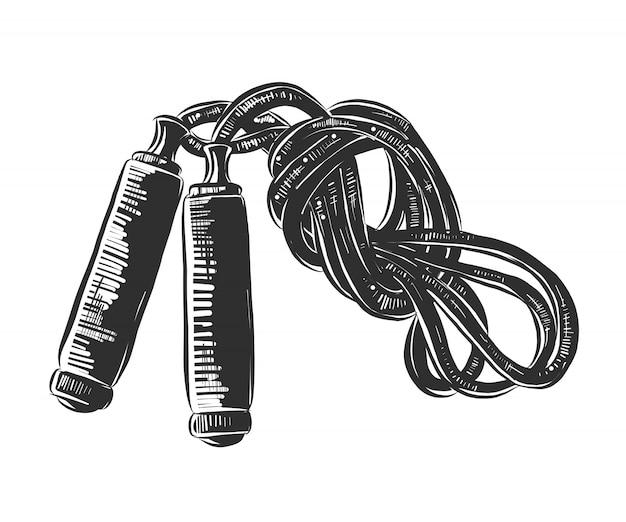 白黒の縄跳びの手描きのスケッチ Premiumベクター