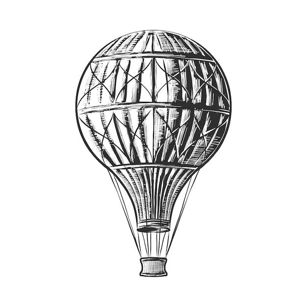 熱気球の手描きのスケッチ Premiumベクター