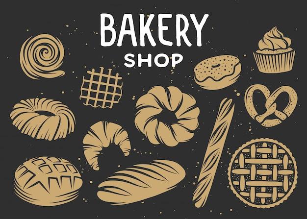 パン屋さんベクトルのセットには、要素が刻まれています。 Premiumベクター