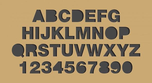 紙の芸術スタイルのアルファベットと数字 Premiumベクター