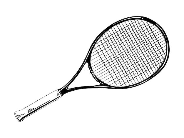 Ручной обращается эскиз теннисной ракетки в черном Premium векторы
