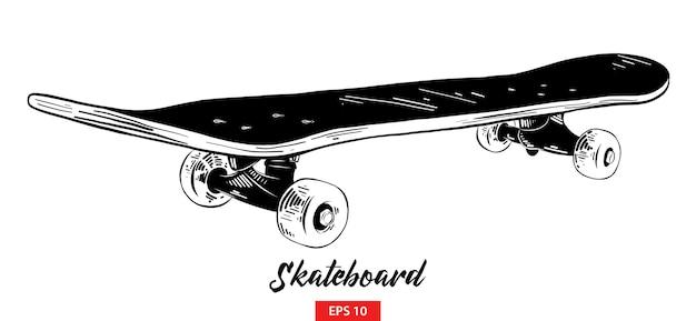黒のスケートボードの手描きのスケッチ Premiumベクター