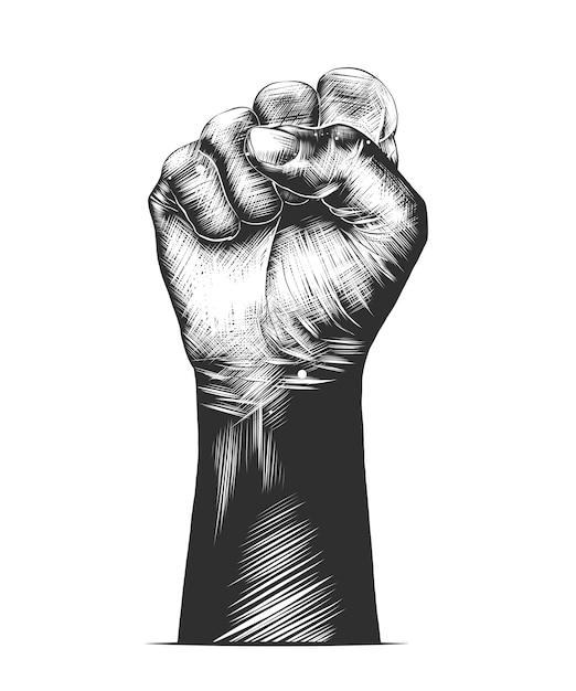 モノクロの人間の拳の手描きのスケッチ Premiumベクター