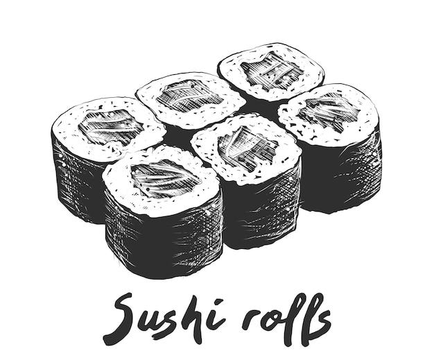 白黒サーモン寿司の手描きのスケッチ Premiumベクター