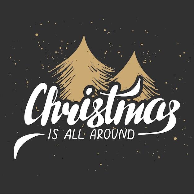 クリスマスは暗い背景の上にあります Premiumベクター