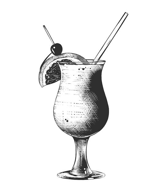 Ручной обращается эскиз летнего коктейля, монохромный Premium векторы