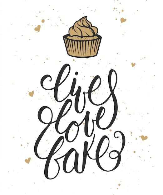 ライブ、愛、ハートとカップケーキカードで焼く Premiumベクター
