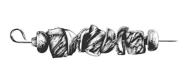 串にシャシリクの手描きのスケッチ Premiumベクター