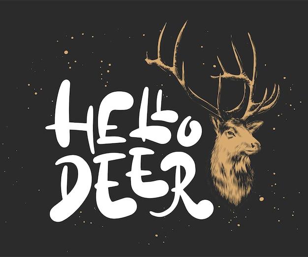 こんにちは鹿、クリスマスと新年の手描き書道 Premiumベクター