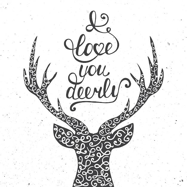私はあなたを愛して鹿を白で隔離 Premiumベクター
