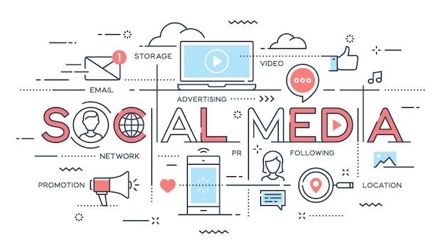 ソーシャルメディア、ネットワーク、ビデオ、マーケティングの細い線の概念。 Premiumベクター
