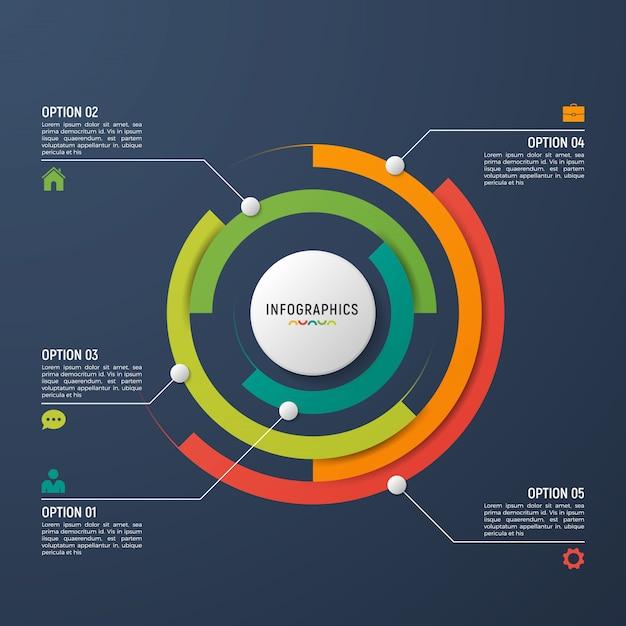 データの視覚化のための円グラフインフォグラフィックテンプレート。 Premiumベクター