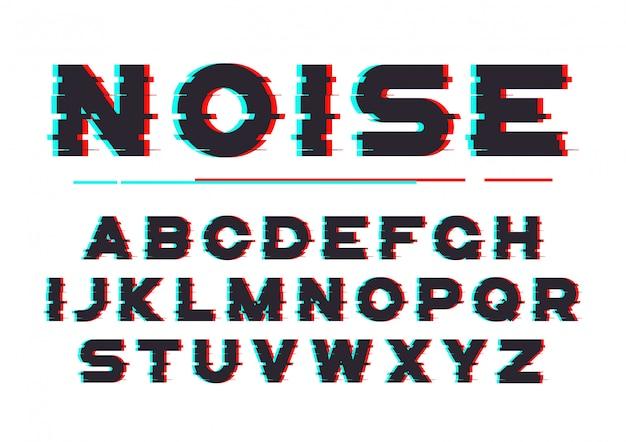 デジタルノイズ、歪み、グリッチ効果を備えた装飾的な太字フォント Premiumベクター
