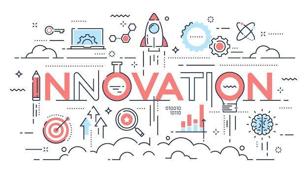 革新、新しいアイデア、創造性、技術の細い線の概念 Premiumベクター