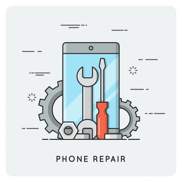 電話修理。平らな細い線。 Premiumベクター