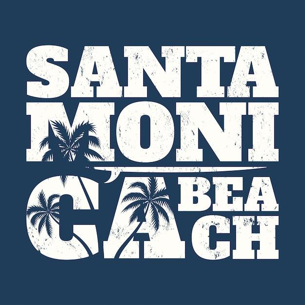 サーフボードとヤシの木が描かれたサンタモニカのティープリント。 Premiumベクター
