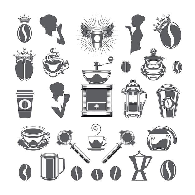 Установленные объекты и значки элементов дизайна вектора кофейни. Premium векторы