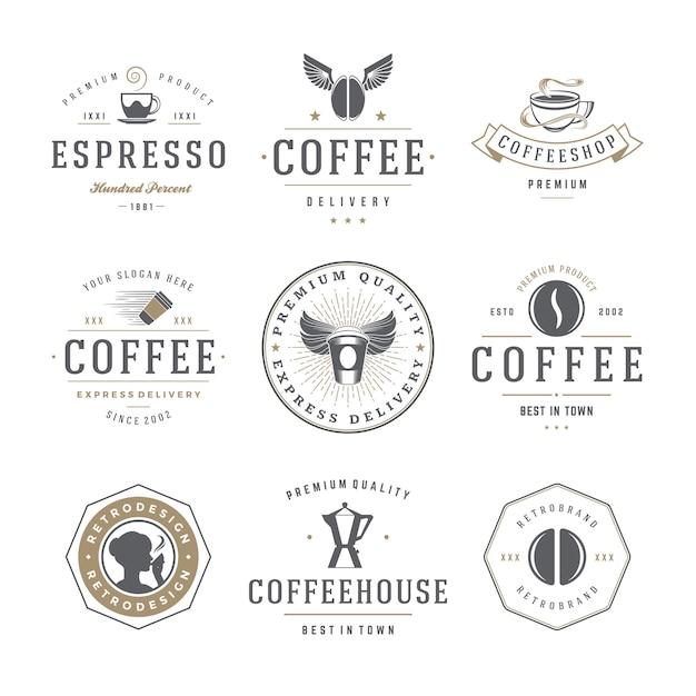 Кофейня эмблемы и значки шаблоны набора. Premium векторы