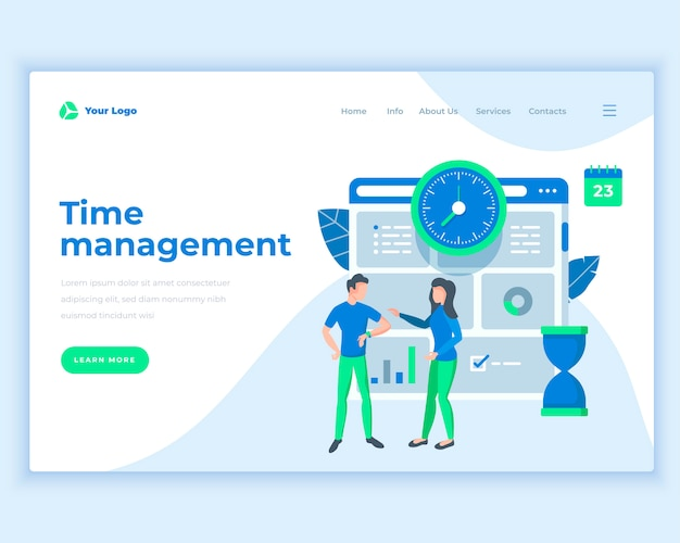 オフィスの人々とランディングページテンプレート時間管理の概念。 Premiumベクター