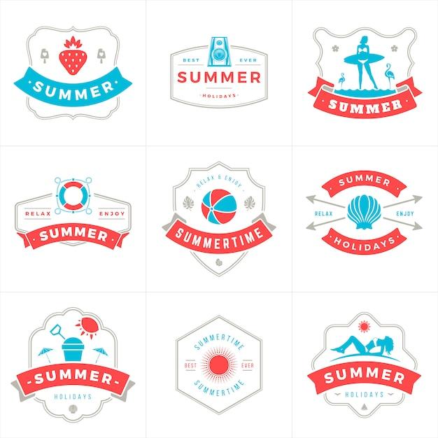夏休みラベルとバッジのタイポグラフィベクトルデザイン Premiumベクター