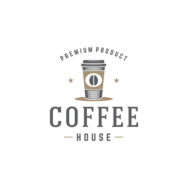 レトロなタイポグラフィのベクトル図と豆のシルエットとコーヒーショップのロゴのテンプレートカップ Premiumベクター