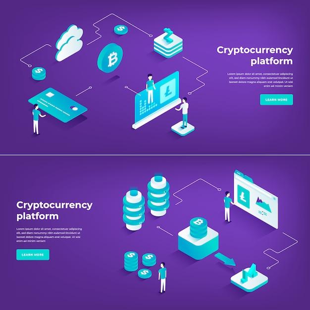暗号通貨交換とブロックチェーンアイソメトリック組成 Premiumベクター