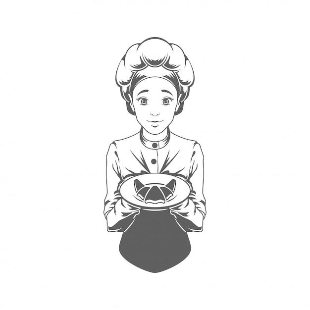 クロワッサンベクトルイラストシルエット分離を与えるシェフ女性 Premiumベクター