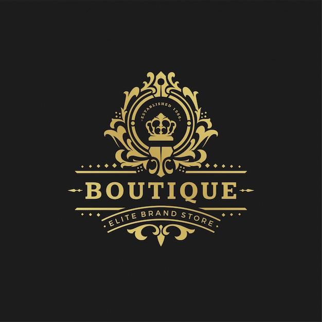 Роскошный логотип дизайн шаблона векторные иллюстрации викторианские виньетки орнаменты. Premium векторы