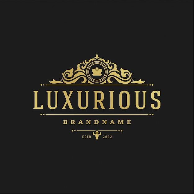 高級ロゴデザインテンプレートベクトル図ビクトリア朝のビネット飾り。 Premiumベクター